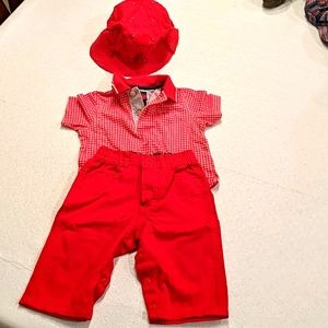 TOMMY HILFIGER red and white outfit w/bucket hat